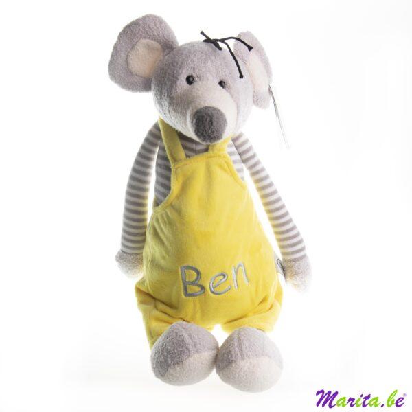 knuffel muis met broekje geborduurd met naam