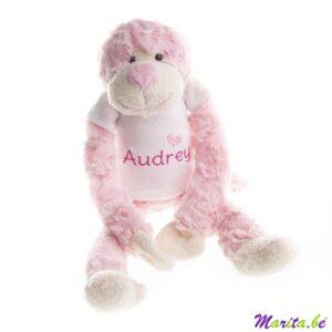 slingeraapje roze, leuk cadeau voor een geboorte