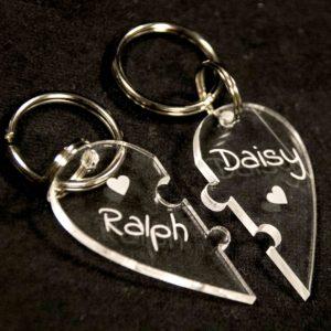sleutelhanger hart in twee delen met naam