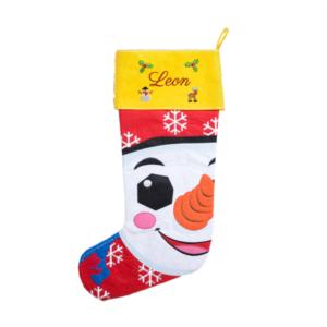 Grand chausson de Noël pour des cadeaux, brodé avec nom.