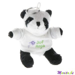 sleutelhanger met panda knuffel bedrukt voor de juf