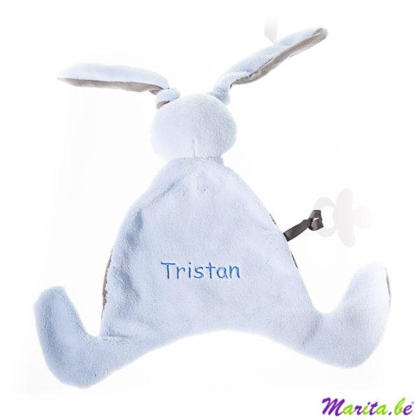 konijn knuffeldoekje, heel zacht, geborduurde doudou met naam tristan