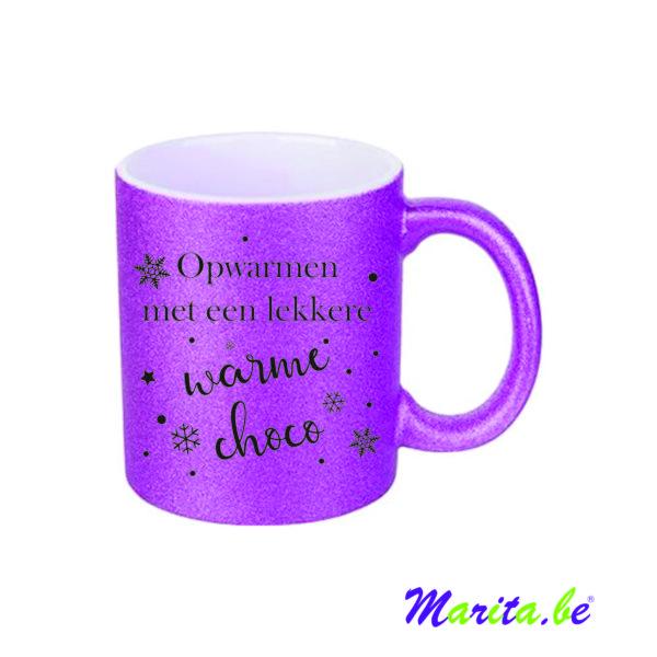 glitter mok paars bedrukt met tekst