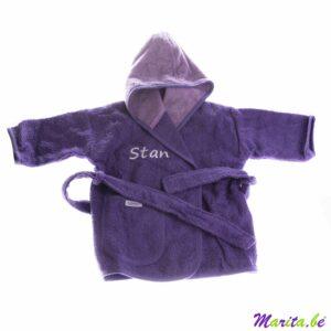 badjas voor kinderen in het paars met naam