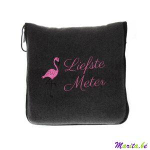 Fleece kussen flamingo 'liefste meter'